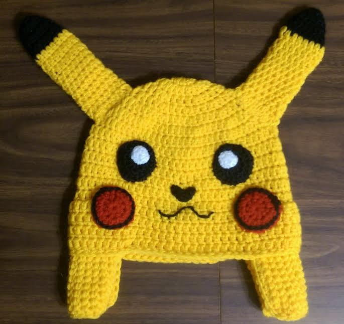 pikachu pokemon inspired crochet hat