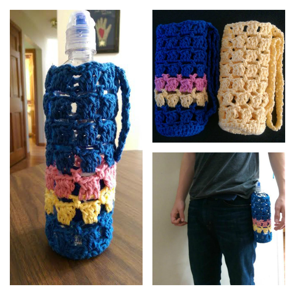 Crochet Water Bottle Cozy Hip To Be Square Free Yarnwars